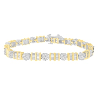 14k Two-tone Gold 3 2/5ct TDW Round and Baguette Diamond Bracelet (H-I, I1-I2)