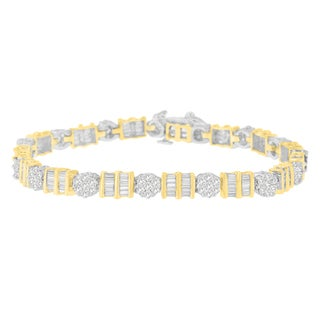 14k Two-tone Gold 3 2/5ct TDW Round and Baguette Diamond Floral Cluster Bracelet (H-I, I1-I2)