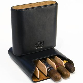 Brizard & Co Sunrise Black and Zebrawood 5 Cigar Case