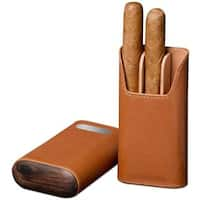 Brizard & Co Tan Leather Cigar Case with Plate