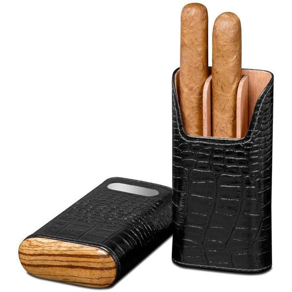 Brizard & Co Croco Black Leather and Zebrawood Cigar Case with Plate