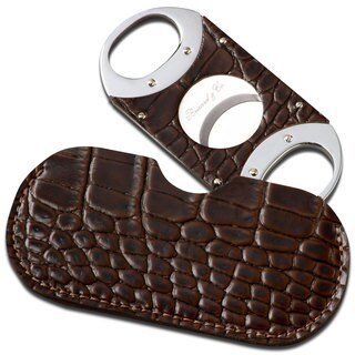 Brizard & Co Croco Tobacco Leather Cigar Cutter