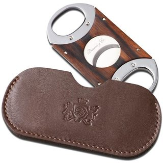 Brizard & Co Ebony Cigar Cutter with Sunrise Coffee Leather Pouch