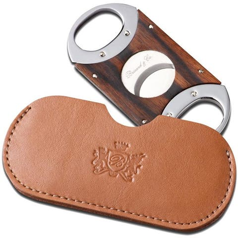 Brizard & Co Ebony Cigar Cutter with Sunrise Tan Leather Pouch