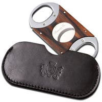Brizard & Co Ebony Cigar Cutter with Sunrise Black Leather Pouch