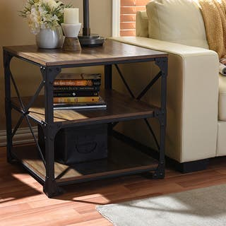 Harrison Industrial Rustic Pipe Frame Accent End Table By
