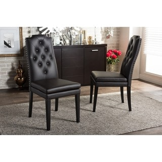 Baxton Studio Dylin Contemporary Dark Brown Faux Leather with Button-tufted Nail Heads Trim Dining C