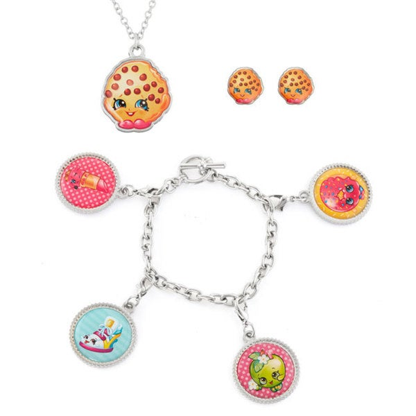 Shopkins Iron Kooky Cookie Pendant on Chain, Stud Earings and Charm Bracelet