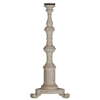 White-washed Wooden Candlestick