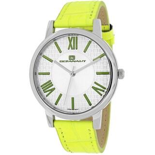 Oceanaut Women's OC7213 Moon Round Apple Green Leather Strap Watch