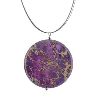 Handmade Ashanti Lilac Jasper Round Gemstone Stainless Steel Handmade Necklace (Sri Lanka)