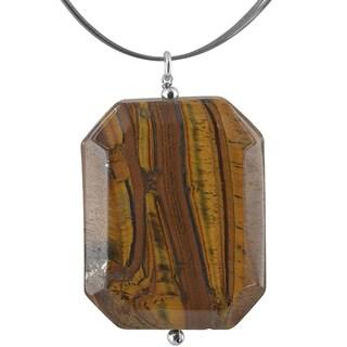 Handmade Ashanti Tiger's Eye Emerald Cut Gemstone Stainless Steel Handmade Necklace (Sri Lanka)