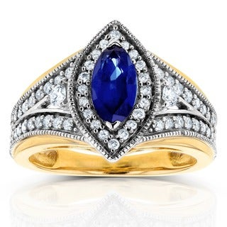 Annello 14k Two Tone Gold Marquise Blue Sapphire and 1/2ct TDW Diamond Art Deco Chevron Ring (H-I, I1-I2)