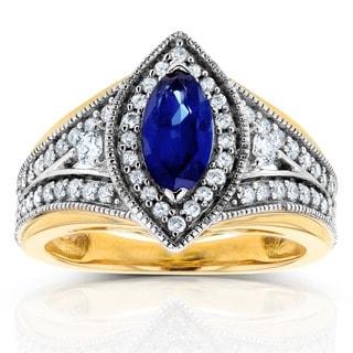 Annello by Kobelli 14k Two Tone Gold Marquise Blue Sapphire and 1/2ct TDW Diamond Art Deco Chevron R