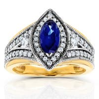 Annello by Kobelli 14k Two Tone Gold Marquise Blue Sapphire and 1/2ct TDW Diamond Art Deco Chevron Ring