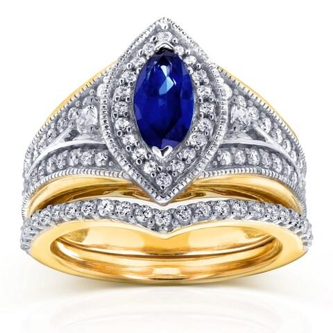 Annello by Kobelli 14k Two Tone Gold Marquise Blue Sapphire and 5/8ct TDW Diamond Art Deco Chevron Bridal Rings Set