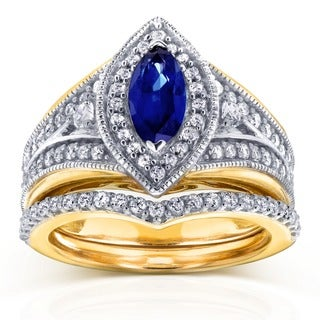 Annello by Kobelli 14k Two Tone Gold Marquise Blue Sapphire and 5/8ct TDW Diamond Art Deco Chevron B