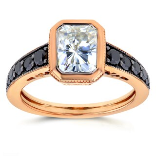 Annello by Kobelli 14k Rose Gold 2 1/4ct TGW Radiant Bezel Moissanite (HI) and Black Diamond Vintage Art Deco Ring