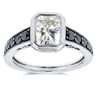 Annello by Kobelli 14k White Gold Radiant Moissanite Bezel and 2/5ct TDW Black Diamond Ring