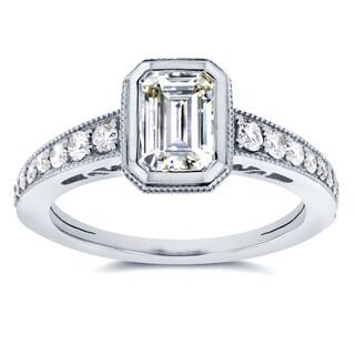 Annello by Kobelli 14k White Gold Emerald Moissanite Bezel and 1/4ct TDW Diamond Ring (G-