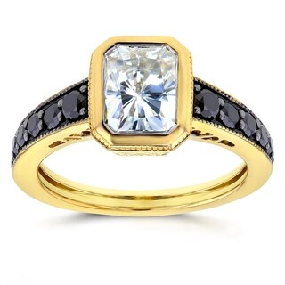 Annello by Kobelli 14k Yellow Gold Radiant Moissanite Bezel and 2/5ct TDW Black Diamond Ring