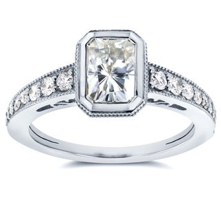 Annello 14k White Gold Radiant Moissanite Bezel and 1/4ct TDW Diamond Engagement Ring (G-H, I1-I2)