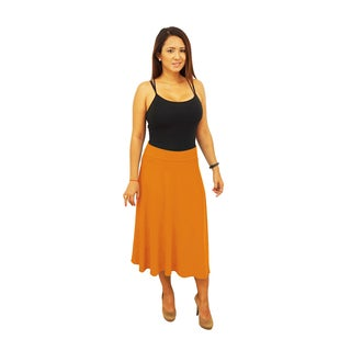 Women's Solid Fold over Waist Midi Below Knee Skirt