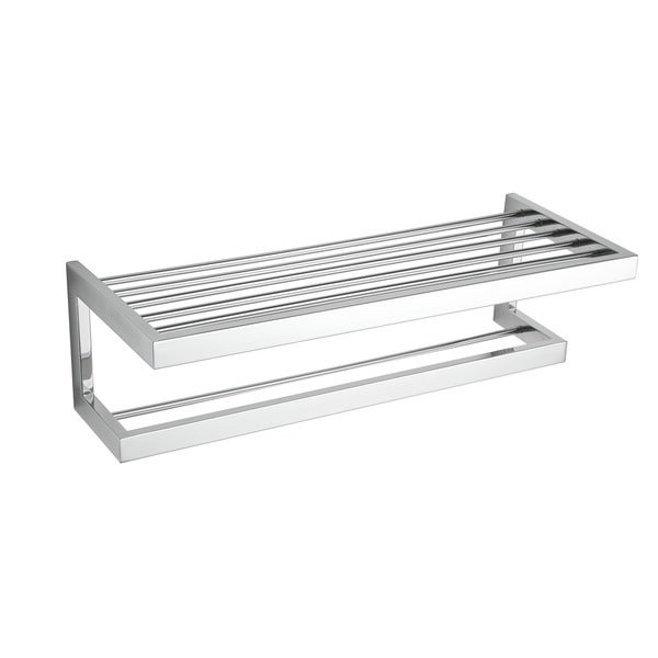 Rikke Contemporary Chrome Stainless Steel Towel Bar With Shelf