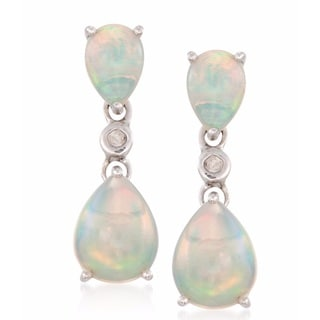 Sterling Silver Pear-cut Opal and Diamond Accent Dangle Earrings