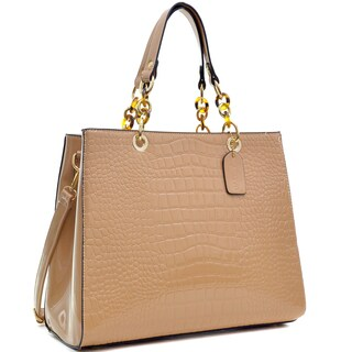 Dasein Patent Faux Leather Croco Embossed Chain Strap Satchel (3 options available)
