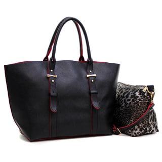 Dasein 2-in-1 Saffiano Faux Leather Tote with Organizer Bag