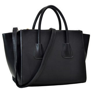 Dasein Faux Leather Winged Satchel with Double Zipper Pockets