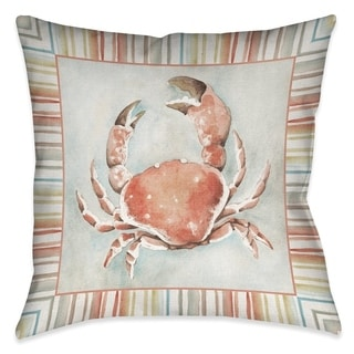 Laural Home Coral Mist Crab Decorative Pillow 18 inches x 18 inches