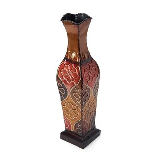 Elements Embossed 17-inch Metal Floral Vase