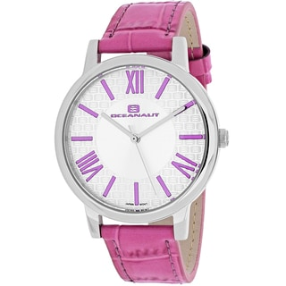 Oceanaut Women's OC7210 Moon Round Pink Leather Strap Watch
