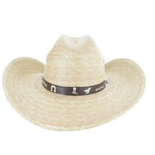 "Faddism 4 1/2"" Wide Brim Palm Straw Cowboy Hat"