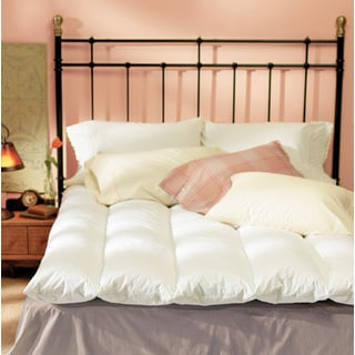 Natural 100-percent Cotton Baffle-channel Queen Size Featherbed and Cover Set (As Is Item)