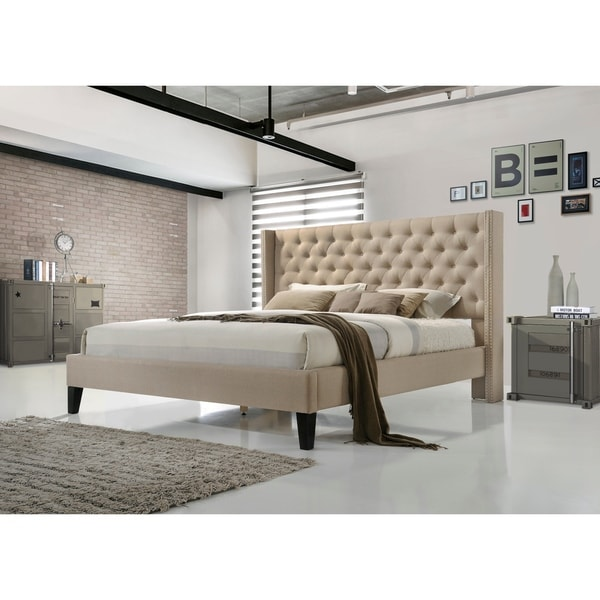 Altozzo Pacifica King Size Tufted Beige Upholstered Platform Bed