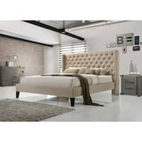Altozzo Pacifica King-size Tufted Beige Fabric Upholstered Platform Bed