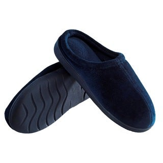 Men's Indoor/Outdoor Slip-On Memory Foam House Slippers - Non-Marking Rubber Sole - Comfortable Foam Cushioning - Blue