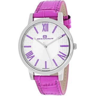 Oceanaut Women's OC7212 Moon Round Purple Leather Strap Watch
