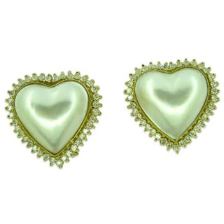 Kabella Luxe 14k Yellow Gold Japanese Mabe Pearl 1 7/8ct TDW Diamond Earrings (18 mm)