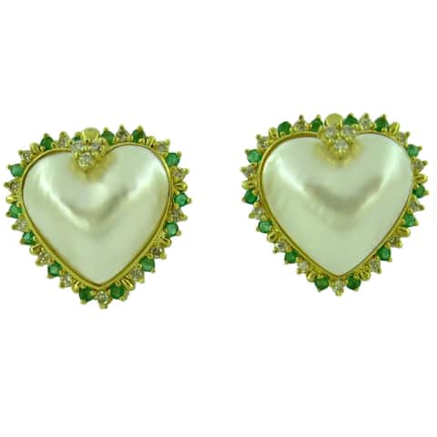 Kabella Luxe 14k Yellow Gold Japanese Mabe Pearl Emerald and 3/4ct TDW Diamond Earrings (19 mm)