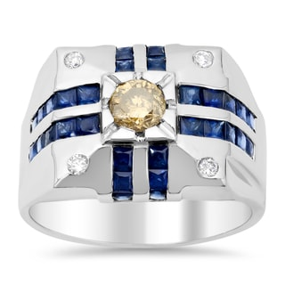 14k White Gold Men's 3/4ct TDW Diamond 1 1/2ct Sapphire Ring (F-G, SI1-SI2)