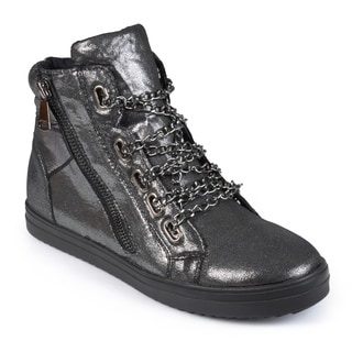 Journee Collection Women's 'Cane' Metallic High-top Sneakers