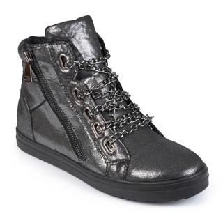Journee Collection Women's 'Cane' Metallic High-top Sneakers