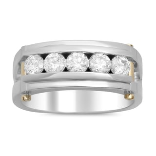 14k Two-tone Gold Men's 1/2ct TDW Diamond Band (F-G, SI1-SI2)