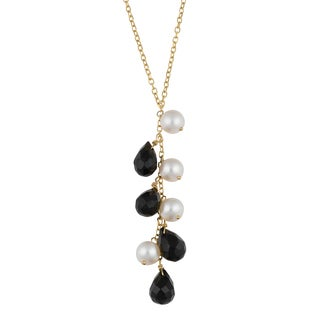Fremada 14k Yellow Gold Black Onyx and White Freshwater Pearl Station Necklace (16 inches)