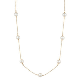 Fremada 14k Yellow Gold White Freshwater Pearl Tin-cup Station Necklace (18 inches)