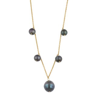 Fremada 14k Yellow Gold Black Freshwater Pearl Cleopatra Necklace (16 inches)